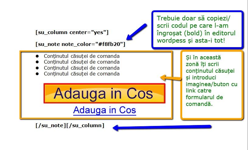 cod shortcode pentru casuta de comanda