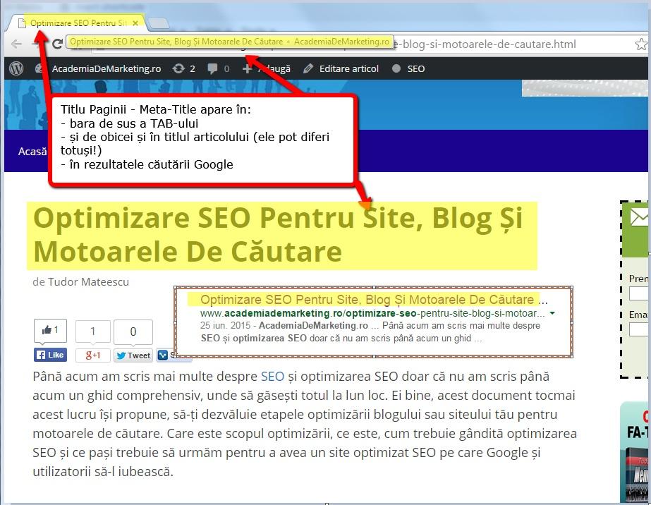 exemplul titlul paginii pentru cuvantul cheie optimizare seo