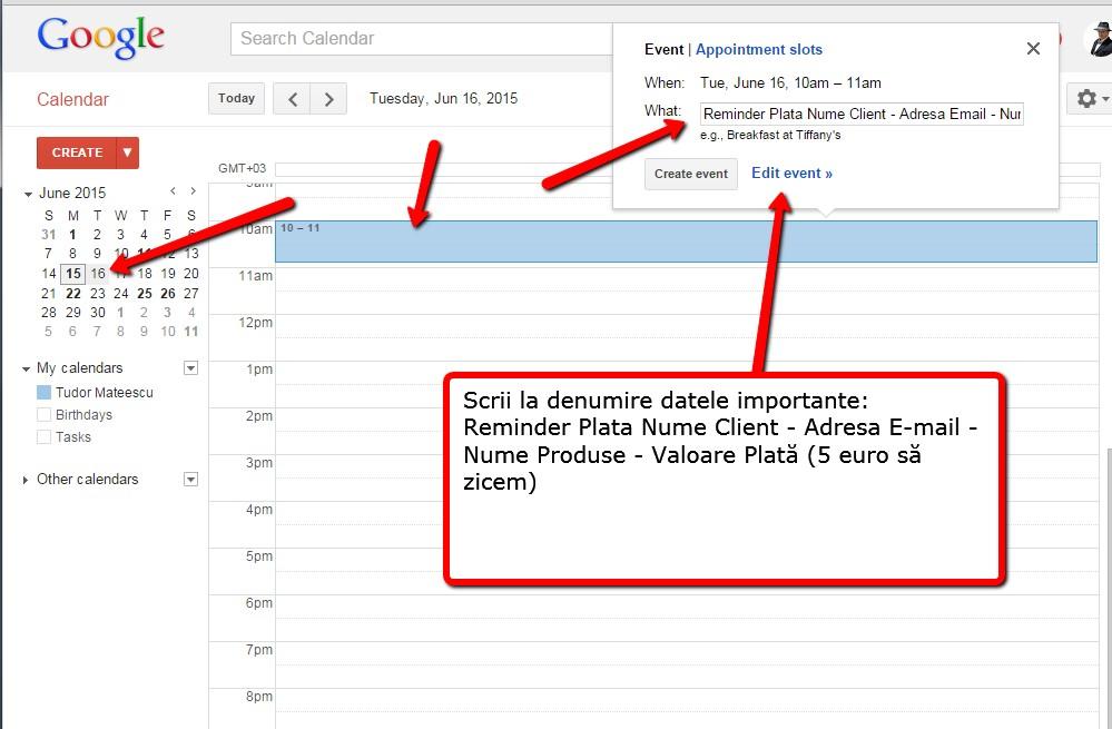 pasul 1 google calendar