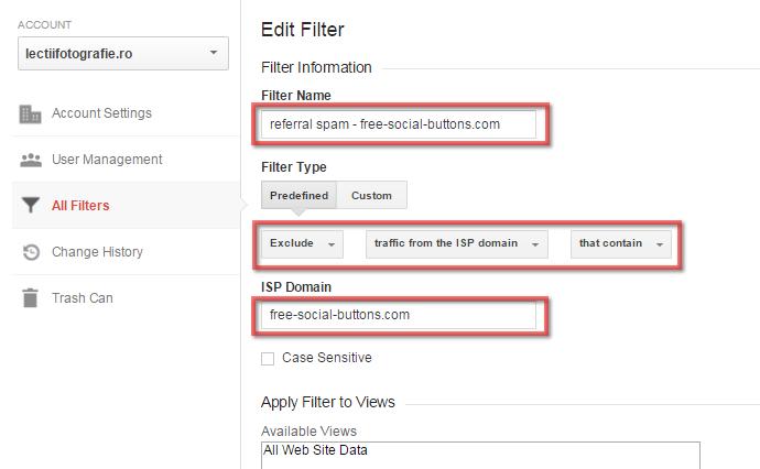 Crearea unui filtru in Google Analytics